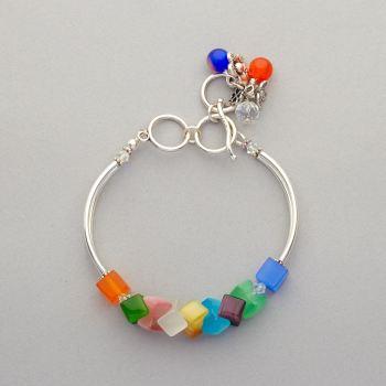 Bracelet - Cat's eye glass beads with Swarovski crystals