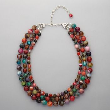 Necklace - Faceted agated, three strand