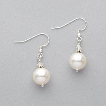 Earrings - Swarovski Pearl with Swarovski Crystal - Sterling Silver