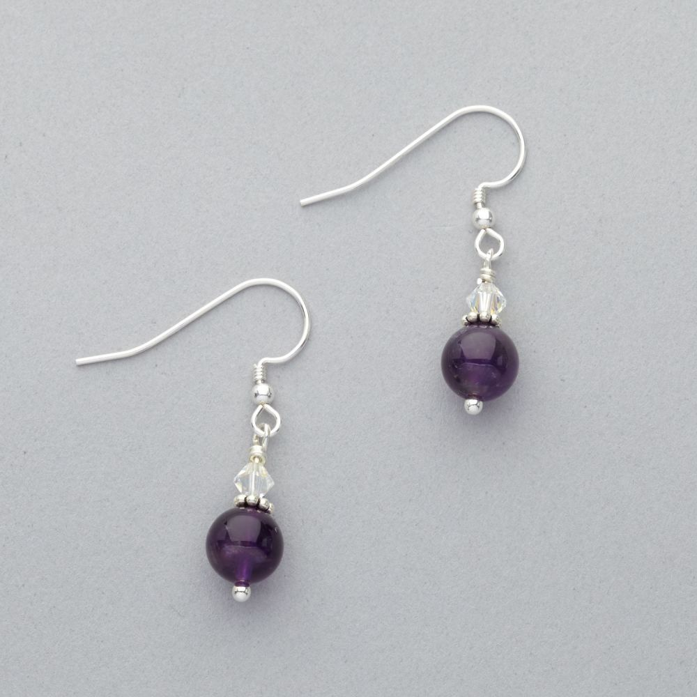 Earrings - Amethyst and Crystal