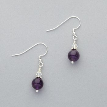Earrings - Amethyst  with Swarovski Crystal - Sterling Silver