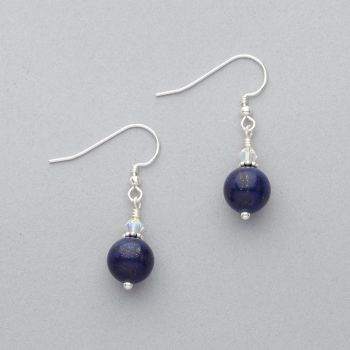 Earrings - Lapis Lazuli with Swarovski Crystal - Sterling Silver