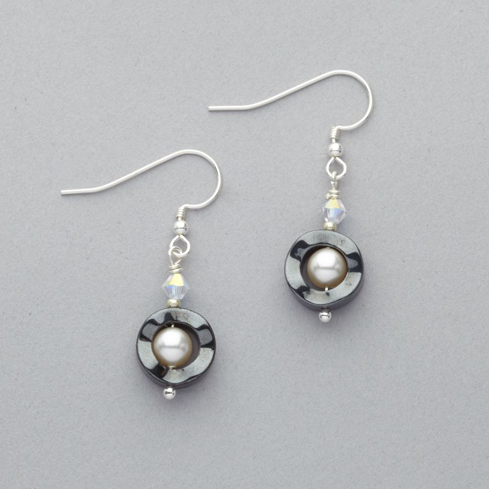 Earrings - Hematite with Swarovski Crystal and Pearl