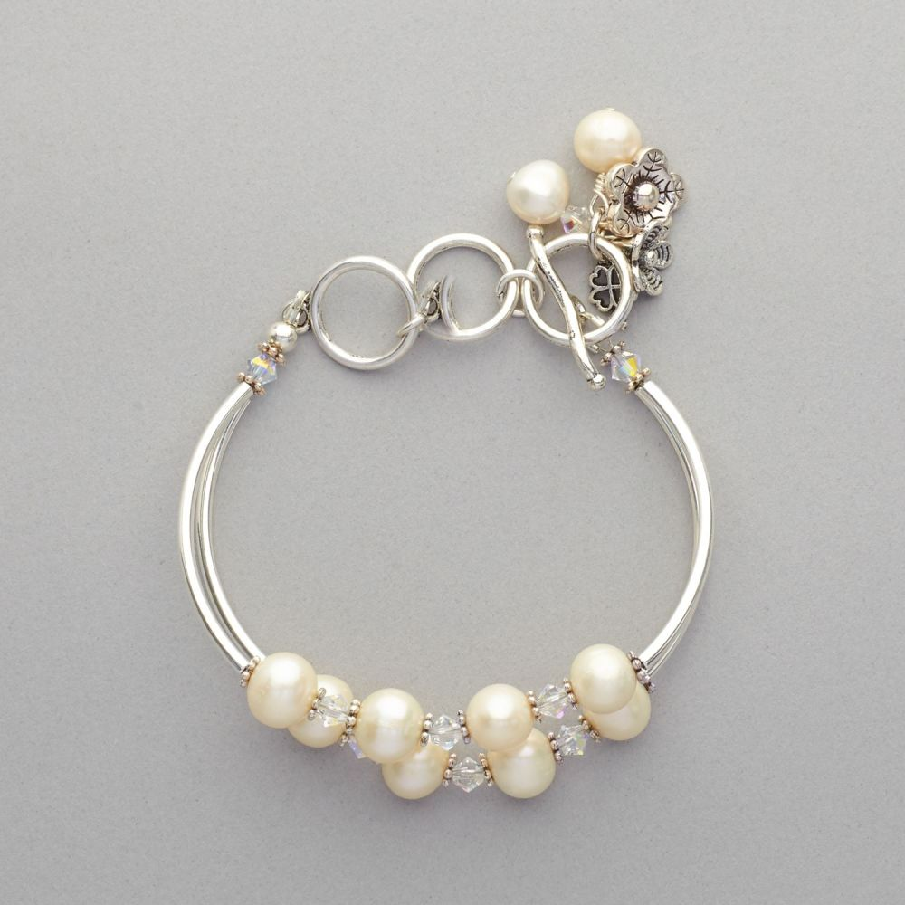 Bracelet - Fresh Water Pearls and Swarovski Crystals, Silver Plated