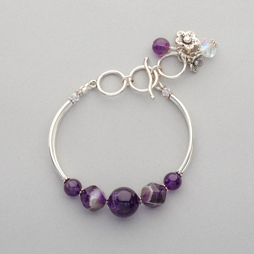 Bracelet - Amethyst, Silver Plated