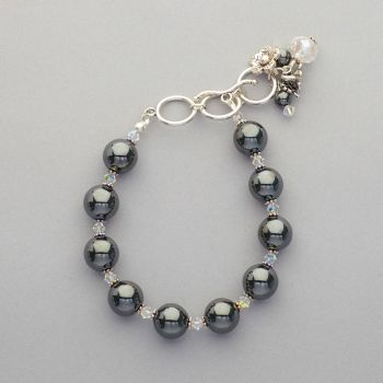 Bracelet - Hematite and Swarovski crystal
