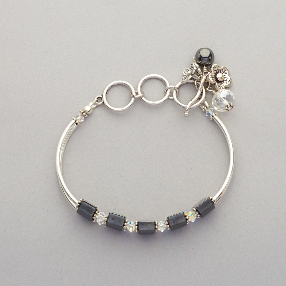 Bracelet - Hematite and Swarovski Crystal, Silver Plated