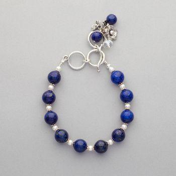 Bracelet - Lapis lazuli and Swarovski pearl