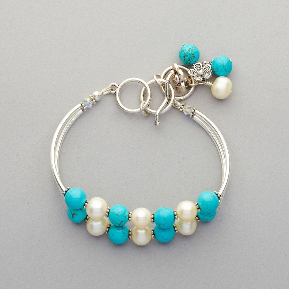 Bracelet - Turquoise and Fresh Water Pearl, Silver Plated