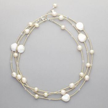 Necklace - Fresh water pearls and Swarovski crystals