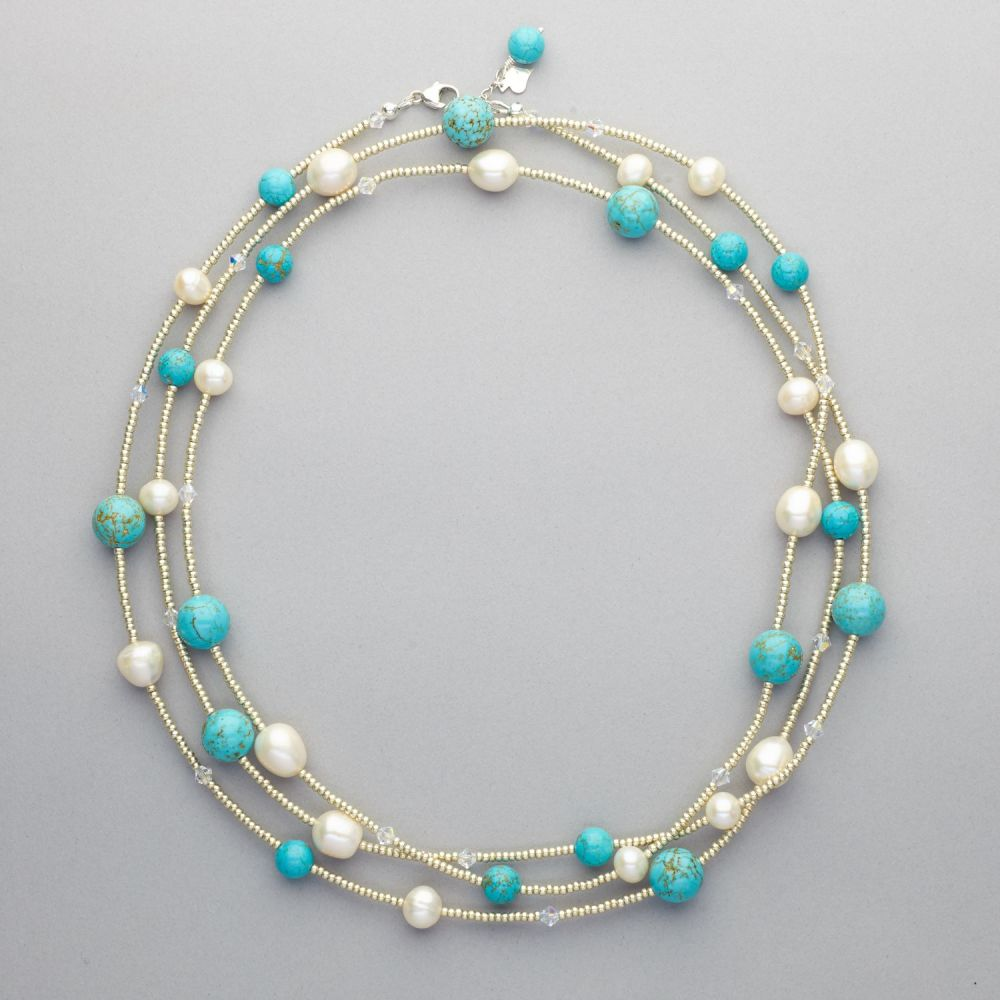 Necklace - Long Length - Fresh Water Pearls, Turquoise and Swarovski Crysta