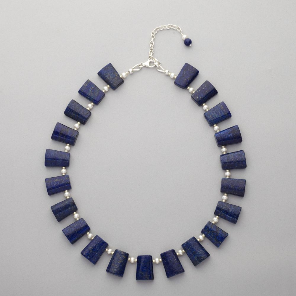 Necklace  Lapis Lazuli and Swarovski Pearl
