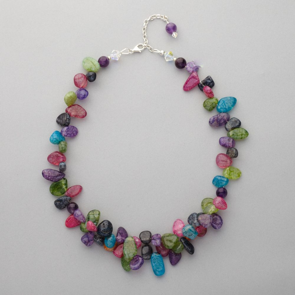 Necklace Agate , Amethyst and Swarovski Crystal