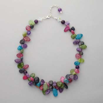Necklace - Multi-coloured agate, amethyst and Swarovski crystal