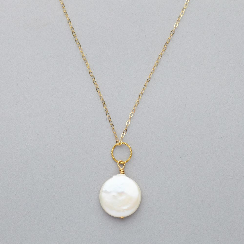 Necklace - Single Fresh Water Pearl on Gold Filled Chain