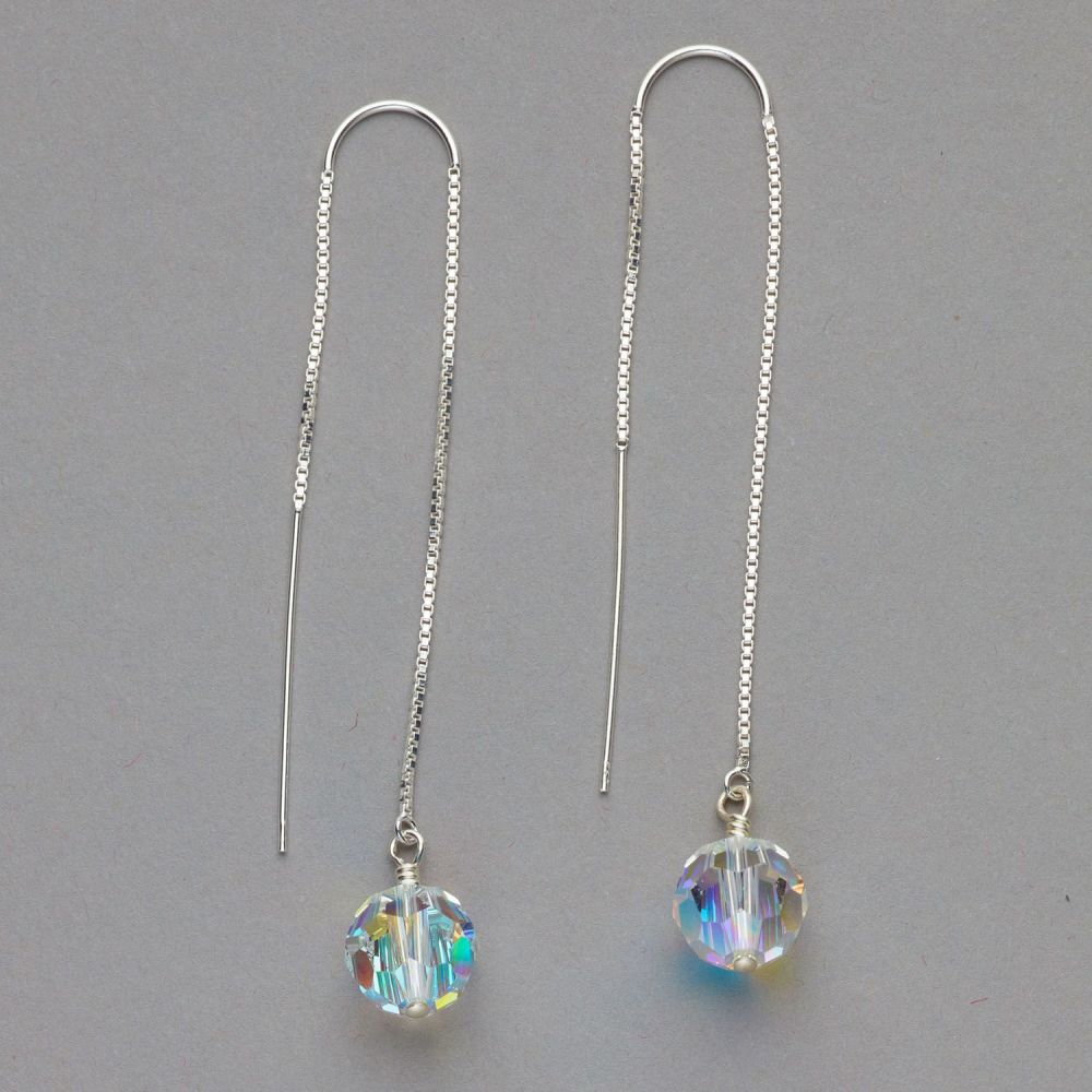 Earrings - Threader Style with Swarovski Crystal - Silver.  Other colours a