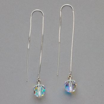 Earrings - Threader Style with Swarovski Crystal
