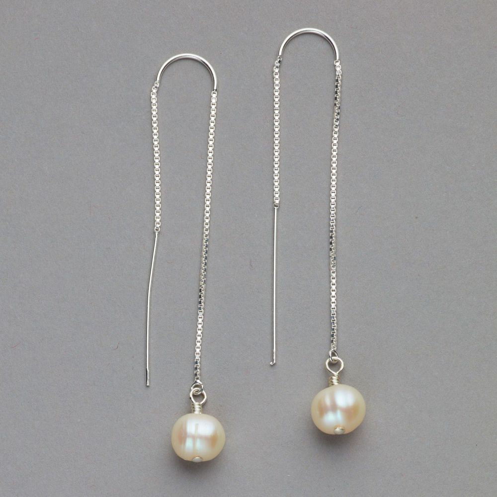 Earrings - Threader Style with Fresh Water Pearls