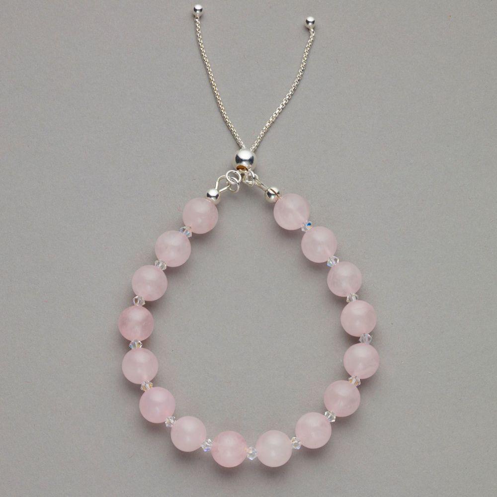 Bracelet - Rose Quartz Gemstone and Swarovski Crystal Bracelet