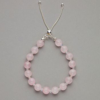Bracelet - Rose quartz gemstone and Swarovski crystal