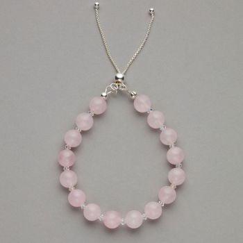 Bracelet - Rose quartz gemstone and Swarovski crystal