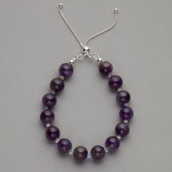Bracelet - Amethyst gemstone and Swarovski crystal bracelet