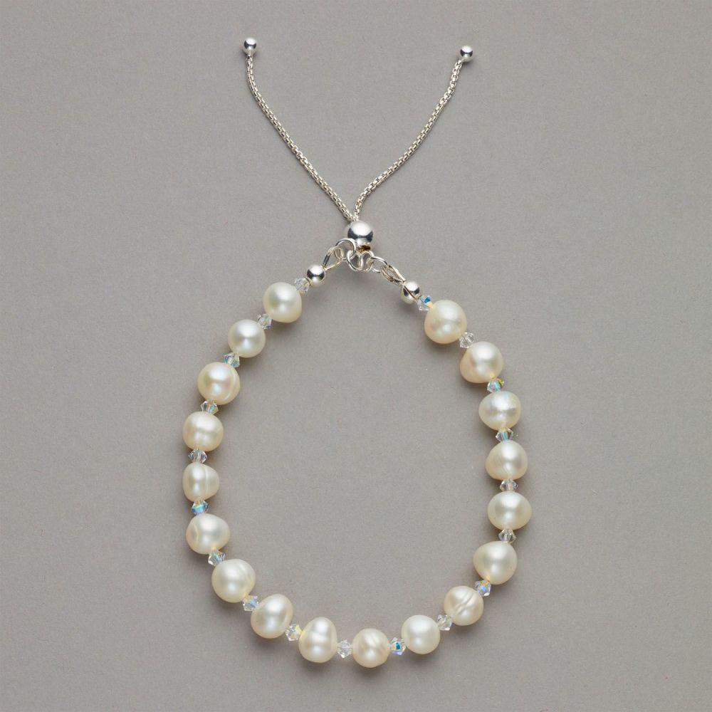 Bracelet - Fresh water pearl and Swarovski crystal bracelet with sterling s