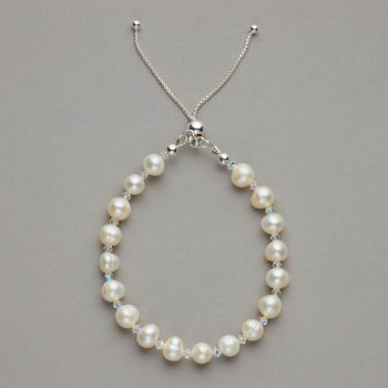 Bracelet - Fresh water pearl and Swarovski crystal bracelet with sterling silver adjustable ball slider.