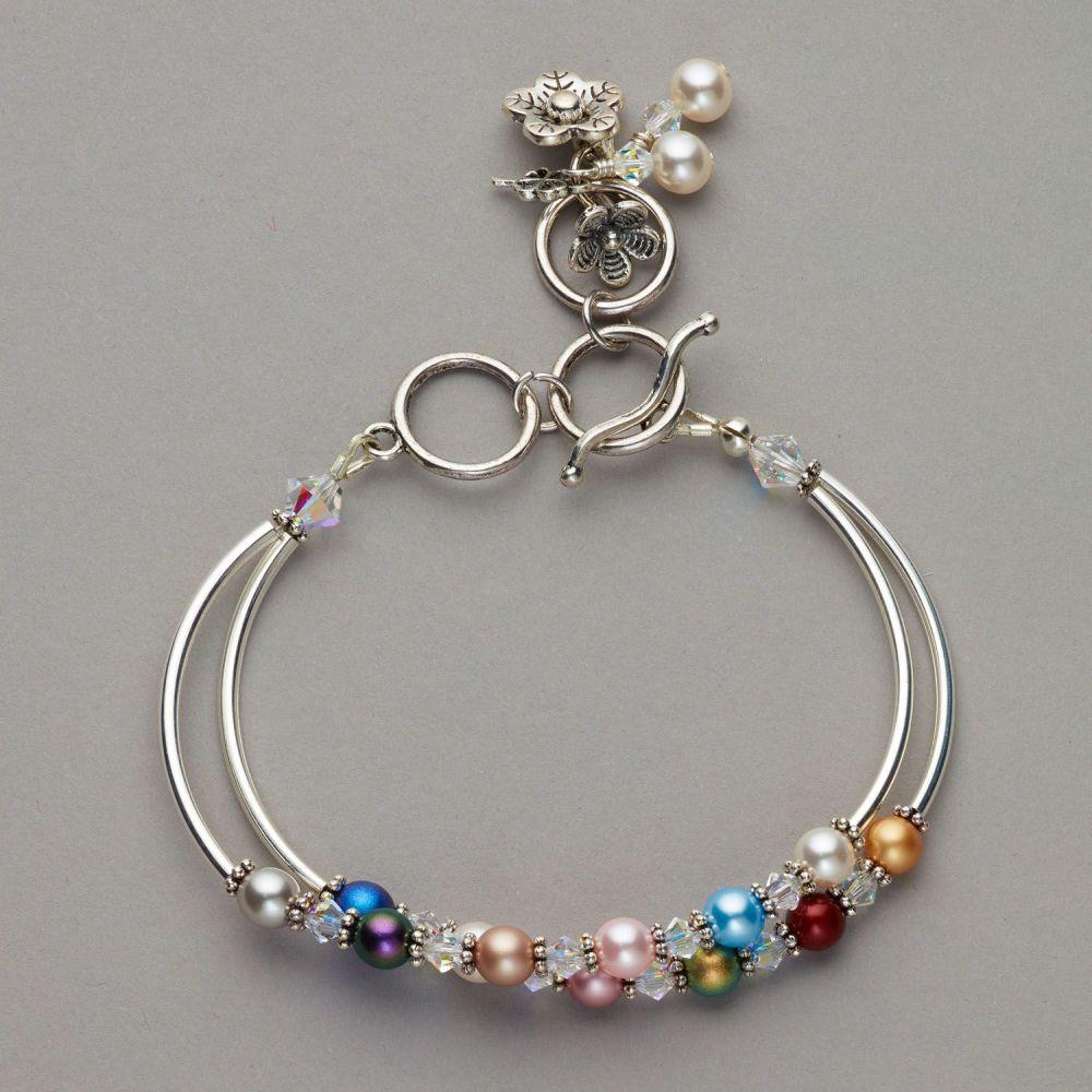Bracelet - Swarovski pearl and crystals