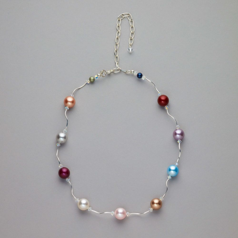 Necklace - Swarovski multi colour pearls and crystals