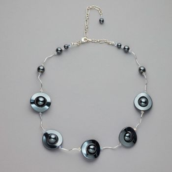 Necklace - Hematite with Swarovski crystals