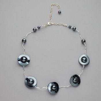 Necklace - Hematite with Swarovski crystals
