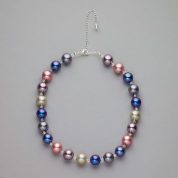 Necklace - Mother of pearl shell beads with Swarovski crystals