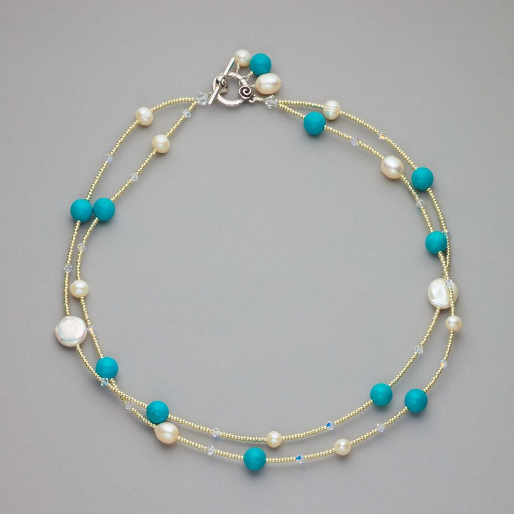 Necklace - Tourquoise, fresh water pearls and Swarovski crystals