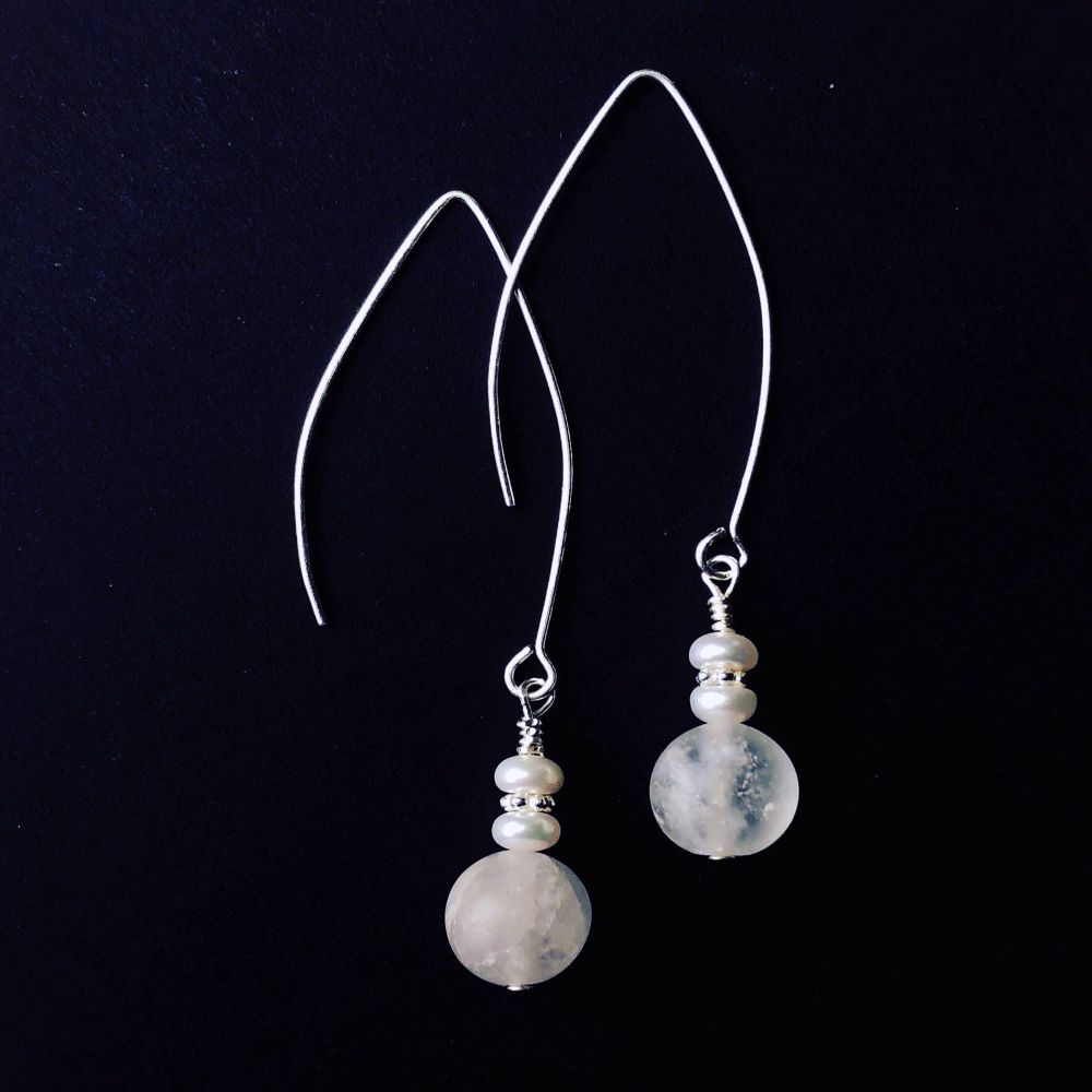 Earrings - Rock Crystal and Fresh Water Pearls