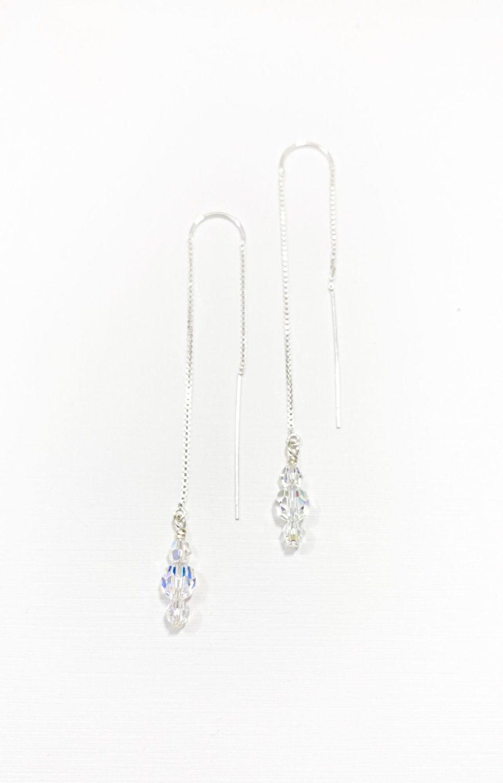 Earrings - Threader Style - Swarovski Crystal
