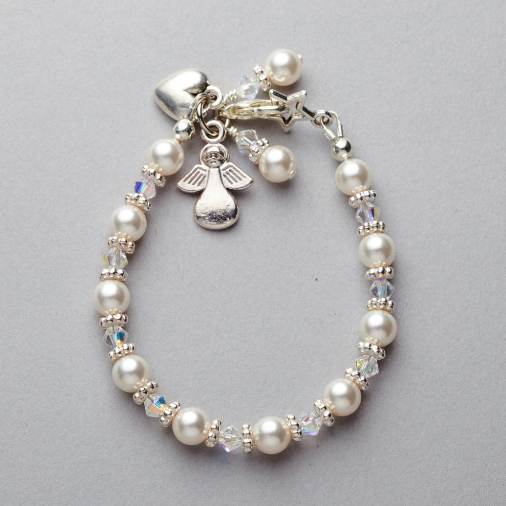 Bracelet - White Swarovski Pearl and Crystal Bracelet