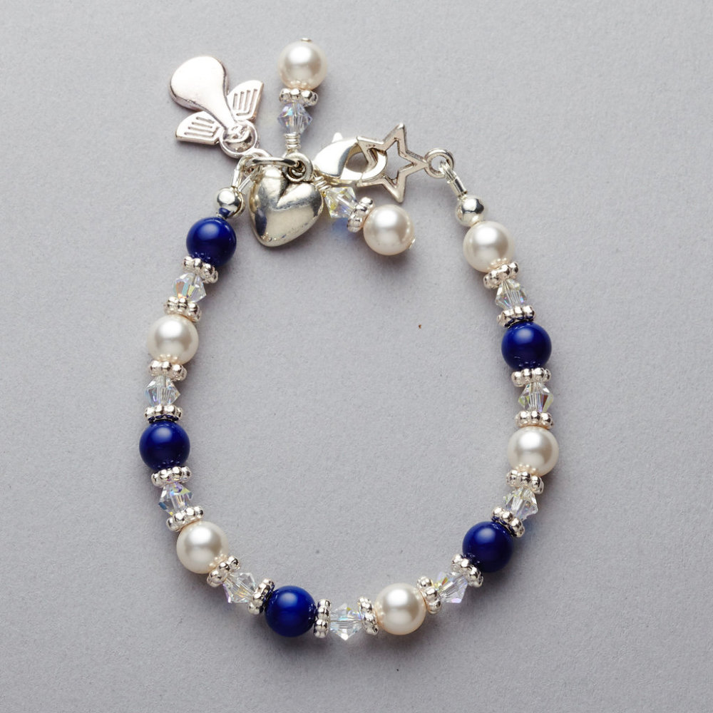 Bracelet - Girls - Navy Blue Swarovski Pearl and Crystal