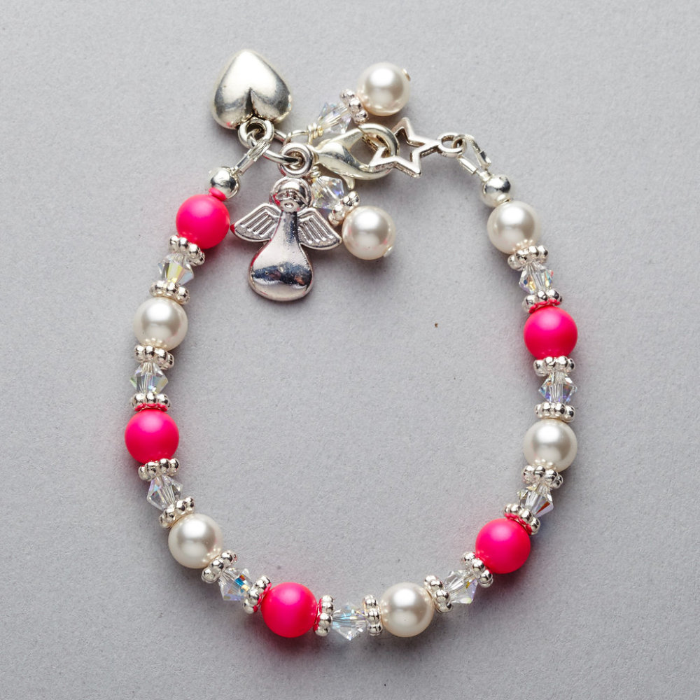 Bracelet - Girls - Pink Swarovski Pearl and Crystal