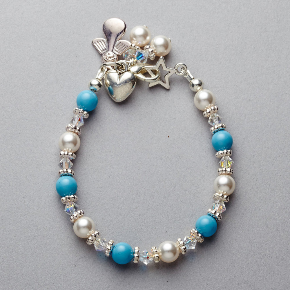 Bracelet - Girls - Turquoise Swarovski Pearl and Crystal