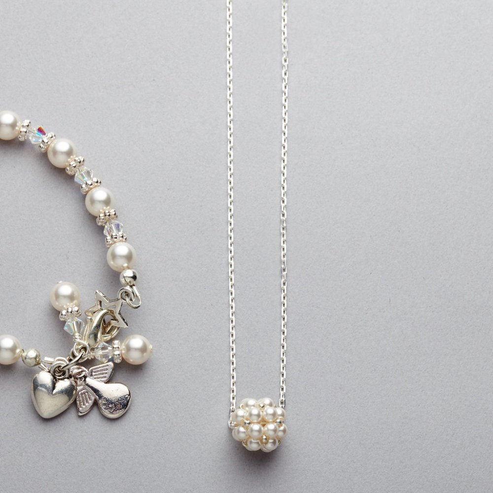 Necklace - Girls - Swarovski Pearl Cluster on Sterling Silver Chain