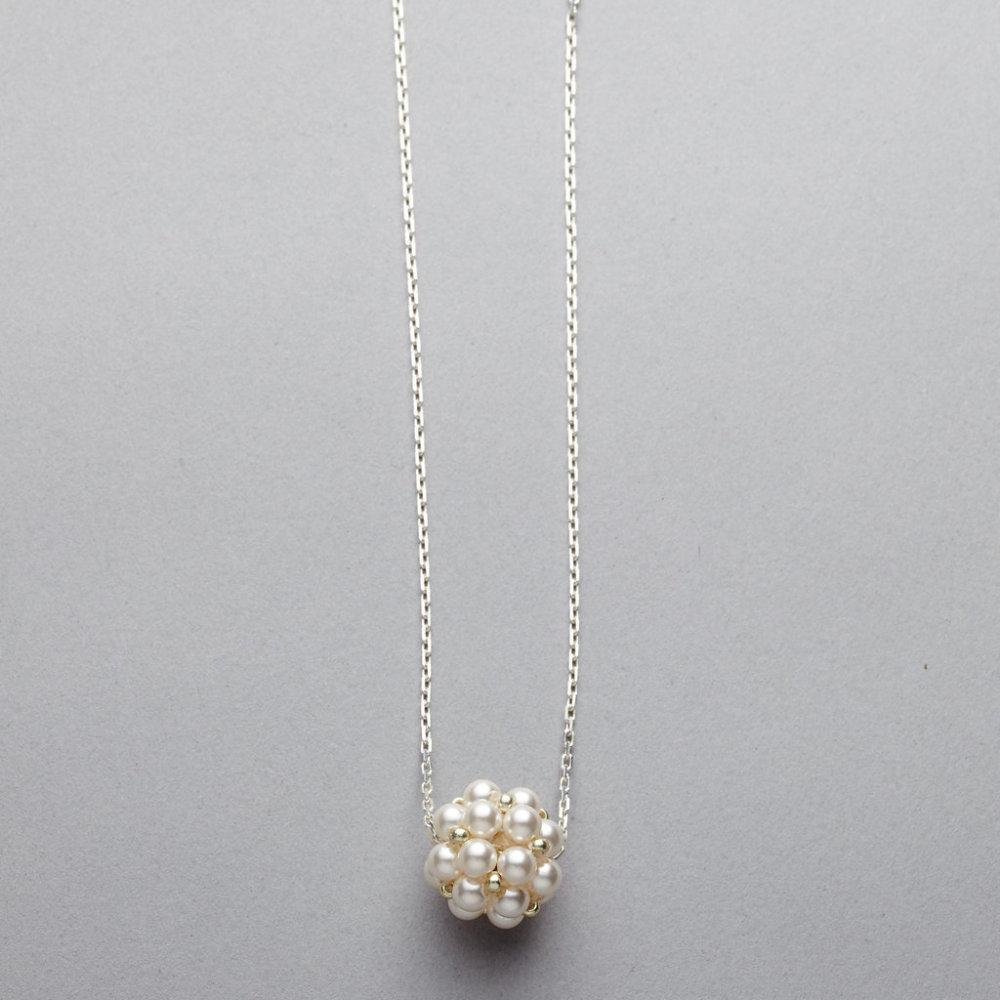 Necklace - Swarovski Pearl Cluster - Silver Chain