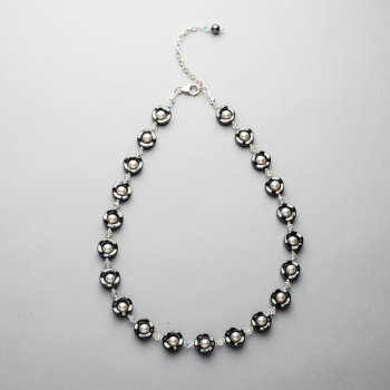 Necklace - Hematite with Swarovski white pearls and crystals