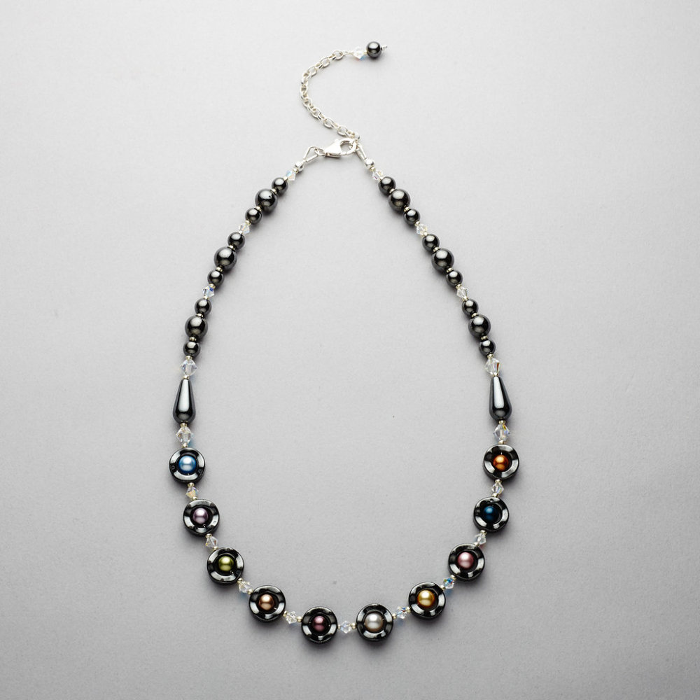 Necklace - Hematite with Swarovski Pearl and Crystal