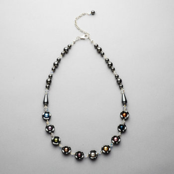 Necklace - Hematite with Swarovski multi coloured pearls and crystals