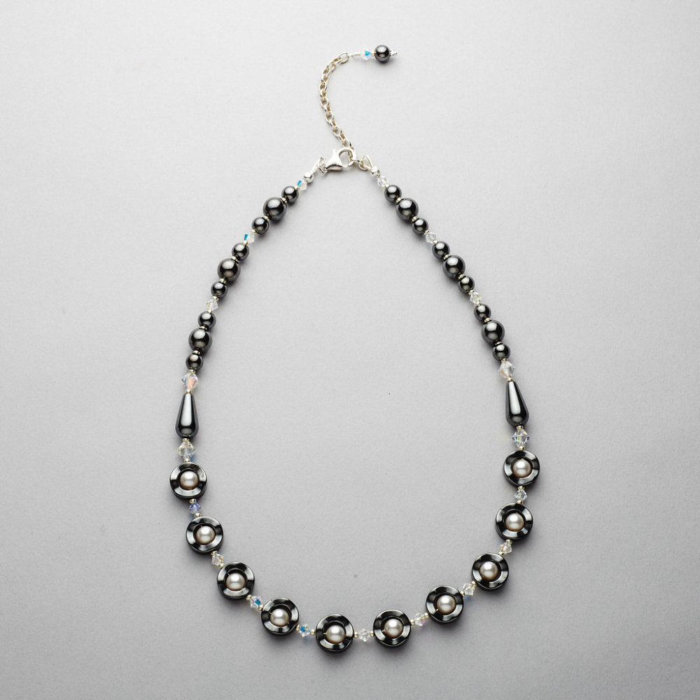 Necklace - Hematite with Swarovski Pearl and Crystal White