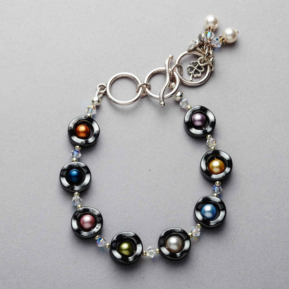 Bracelet - Hematite with Swarovski Pearls and Crystals