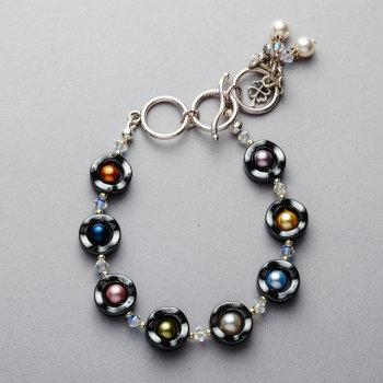 Bracelet - Hematite with Swarovski multi coloured pearls and crystals