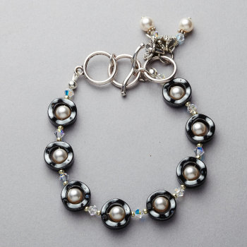 Bracelet - Hematite with Swarovski white pearls and crystals