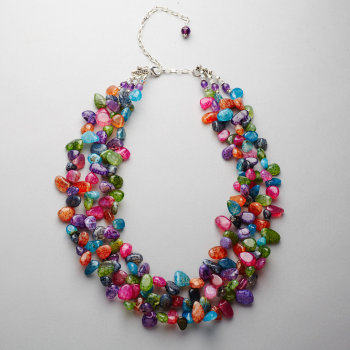 Necklace - Multi coloured agate, with amethyst and Swarovski crystal